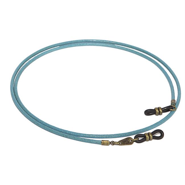 Cordón cuelga gafas estilo vintage cuero vegetal Blue in Green