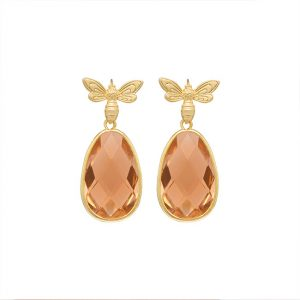 pendientes-queen-bee-color-melocoton-pepitas-de-oro