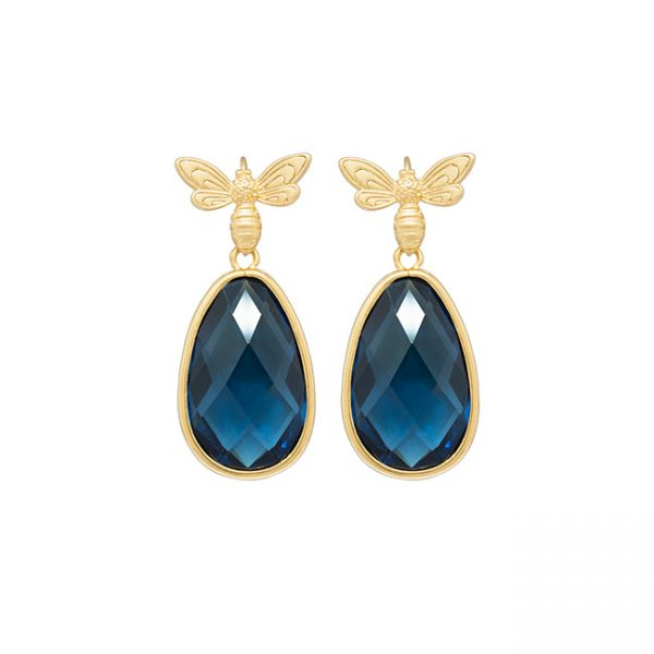 pendientes-queen-bee-garden-color-azul-bruto-pepitas-de-oro