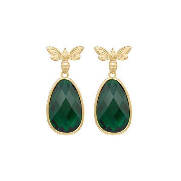 pendientes-queen-bees-garden-color-verde-bruto-pepitas-de-oro